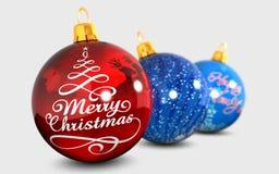 Boom van de Kerstmis de blauwe bal Royalty-vrije Stock Afbeelding