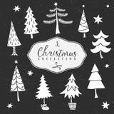 Boom van de krijt de decoratieve winter De inzameling van Kerstmis Stock Afbeeldingen