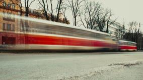 Boom van de weg de rode tram Stock Afbeelding