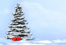 Boom van harten in liefde Achtergrond met sneeuwspar en harten in liefde Stock Foto's