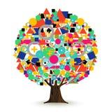 Boom van het abstracte concept dat van kleurenvormen wordt gemaakt vector illustratie