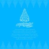 Boom van het lijn de nieuwe jaar bij Kerstmis het van letters voorzien op blauwe achtergrond Stock Foto's