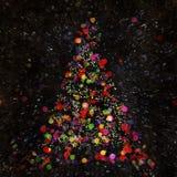 Boom van Kerstmis de Abstracte Bokeh op donkere achtergrond vector illustratie