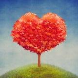 Boom van liefde op gebied, de achtergrond van de valentijnskaartendag vector illustratie