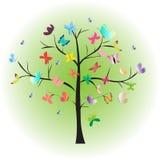 Boom velen kleurrijke vlinder stock illustratie