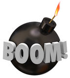 Boom Word Round Bomb Explosion Warning Danger Stock Images