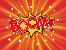 Boom, wording in comic speech bubble on burst background Stock Photo