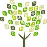 Boomachtergrond van de pictogrammen van het ecoweb Stock Afbeelding