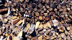 Boombesnoeiingen, berk en eiken brandhoutclose-up stock foto