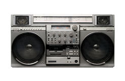 BOOMBOX from 1980s. Famous japan boombox from 80s, grey metallic plastic, chrome, real sound and japan quality. Isolated on black stock photography