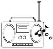 Boombox com jogo da música ilustração do vetor