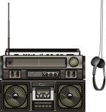 Boombox et écouteurs illustration libre de droits