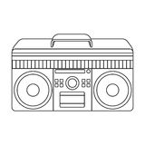Boombox icon in outline style isolated on white background. Hipster style symbol  Royalty Free Stock Photos