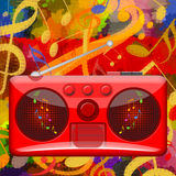 Boombox music background Stock Photos