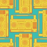 Boombox retro pattern seamless. tape recorder Vector background. Disco stereo texture Royalty Free Stock Image