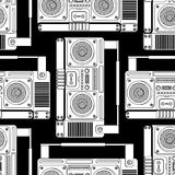 Boombox retro pattern seamless. tape recorder Vector background. Disco stereo texture stock illustration