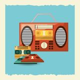 Retro music design. Boombox stereo and cassettes icon over blue background vector illustration vector illustration