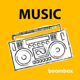 Boombox, vector, drawing, illustration, retro, sketch Stock Photography