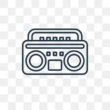 Boombox vector icon isolated on transparent background, linear B royalty free illustration