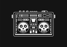 Boomboxschedel Zwarte achtergrond stock afbeelding