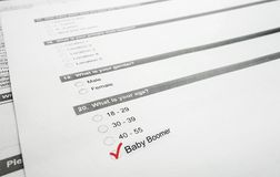 Boomer survey. Closeup of a survey form with Baby Boomer checked royalty free stock photos
