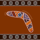 Boomerang. A illustration based on aboriginal style of dot painting depicting boomerang Royalty Free Stock Photography