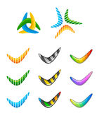 Boomerang. Set of colorful boomerang on a white background royalty free illustration