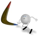 Boomerang and 3D Character Royalty Free Stock Images