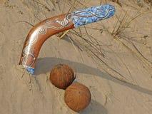 Boomerang and coconuts. royalty free stock photos