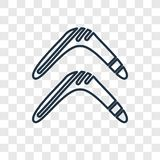 Boomerang concept vector linear icon isolated on transparent background, Boomerang concept transparency logo in outline style. Boomerang concept vector linear vector illustration