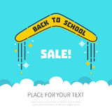 Boomerang flying back to school. Back to school concept with a flying boomerang and place for your text on blue background. Educational concept. Sale and vector illustration