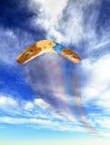 Boomerang flying fast. Royalty Free Stock Image