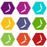 Boomerang icon set color hexahedron. Boomerang icon set many color hexahedron isolated on white vector illustration Royalty Free Stock Images