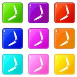 Boomerang icons 9 set. Boomerang icons of 9 color set isolated vector illustration Royalty Free Stock Images