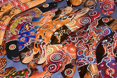 Boomerangs. A colorful display of boomerangs in Melbourne, Australia Stock Photo