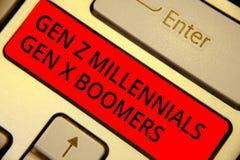 Boomers för Gen Z Millennials Gen X för ordhandstiltext Affärsidé för röd tangent för generationsbundet ungdomarför skillnader ga arkivfoto
