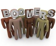Boomers - les gens de différentes races et de vieillesse Image libre de droits