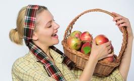boomgaard, tuinmanmeisje met appelmand De landbouwconcept Gezonde tanden vitamine en het op dieet zijn voedsel Het gelukkige Eten royalty-vrije stock fotografie