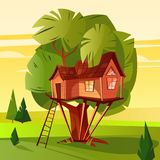 Boomhuis in bos vectorillustratie stock illustratie