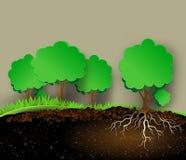Boomillustratie met groene bladeren en wortels Royalty-vrije Stock Afbeelding