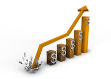 Booming dollar graph Stock Photography