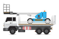 Boomliftandtruck. Illustration of boom lift on heavy truck Stock Photography