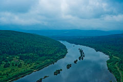 Booms on the vishera river Stock Photos
