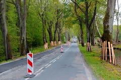 Boomstammen van kant van de wegbomen die door houten planken tijdens een wegenbouw worden beschermd royalty-vrije stock afbeeldingen