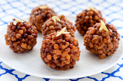 Boondi laddoo. Gram flour, clarified butter and sugar truffles made during Indian festivals royalty free stock images