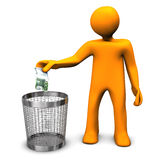 Boondoggle. Orange cartoon character throws european banknote in the wastebasket Royalty Free Stock Images