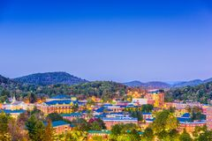 Boone, North Carolina, USA. Campus and town skyline stock images