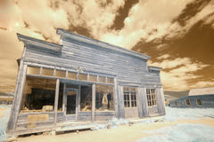 Boone Store and Warehouse in Bodie, California in infrared Royalty Free Stock Photo