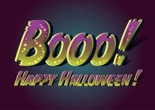 Booo ! Halloween heureux ! Carte drôle heureuse de Halloween Photos stock