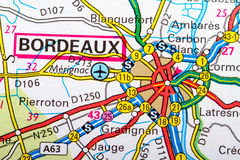 Boordeaux map. The city of  Bordeaux in detail on the map Royalty Free Stock Photo